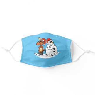 funny moose and snowman with christmas hat adult cloth face mask