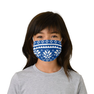 Funny nordic snowflake pattern blue Christmas Kids' Cloth Face Mask