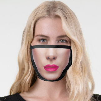 Funny Novelty Fake Attractive Face with Lipstick Face Mask