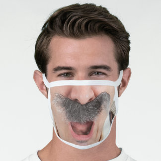 Funny Old Man Mustache Face Mask