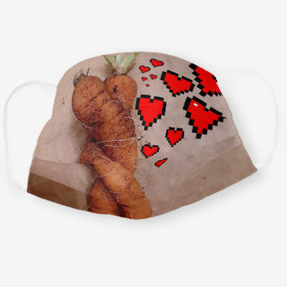 Funny Orange Carrots Wrapped Together Red Hearts Cloth Face Mask
