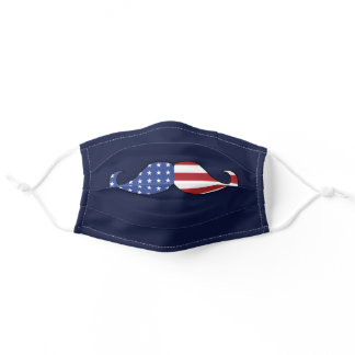 Funny Patriotic Mustache Adult Cloth Face Mask