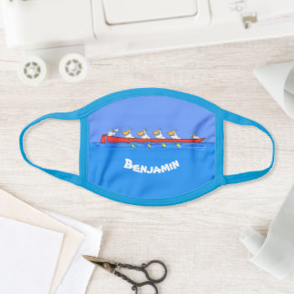 Funny pelicans rowing cartoon illustration face mask