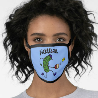 Funny Pickle Playing Pickleball Sports Cartoon Face Mask