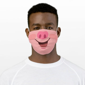 Funny Pink Pig Print Adult Cloth Face Mask