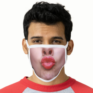 Funny Puckered Kiss Lips Face Mask