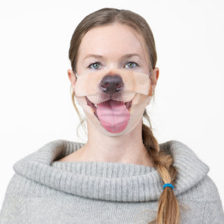 Funny Puppy Dog Muzzle Nose Mouth Smile Adult Cloth Face Mask