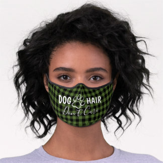 Funny Quote Dog Paw Green And Black Buffalo Checks Premium Face Mask