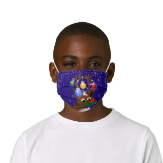 Funny red nosed reindeer wearing mask