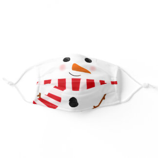 Funny red white Christmas snowman illustration Adult Cloth Face Mask