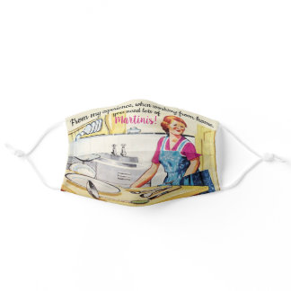 Funny Retro Fifties Housewife Working from Home Adult Cloth Face Mask