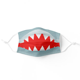 Funny shark teeth smile great white blue red kids adult cloth face mask