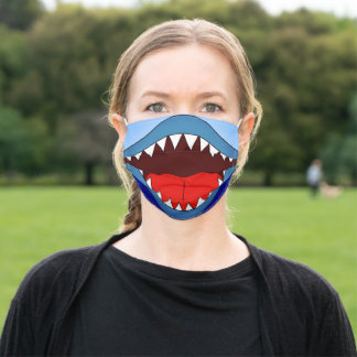 Funny Silly Shark White Sharp Teeth Adult Cloth Face Mask