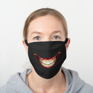 Funny Smile Black Cotton Face Mask
