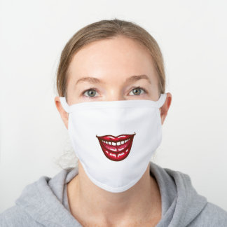 Funny Smile White Cotton Face Mask