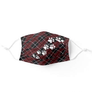 Funny Snow Dog Paws Dark Red Black White Plaid Adult Cloth Face Mask