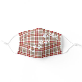 Funny Snow Dog Paws Red Brown White Plaid Adult Cloth Face Mask