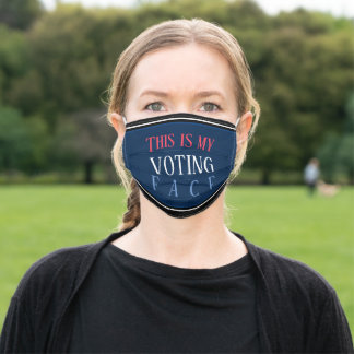 Funny Striped Blue Patriotic Statement Vote Meme Adult Cloth Face Mask