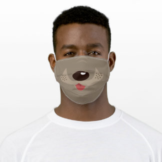 Funny Tan and Brown Dog Adult Cloth Face Mask