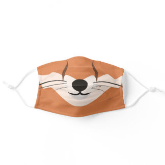 Funny Tan and Brown Fox Print Adult Cloth Face Mask
