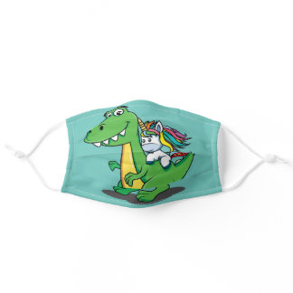 Funny Unicorn Riding T Rex Dino Face Mask