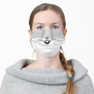 Funny White and Gray Bunny Rabbit Print Adult Cloth Face Mask