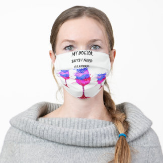 Funny Wine Glasses Adult Cloth Face Mask