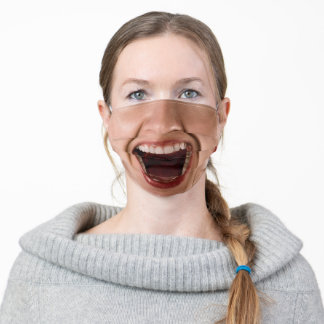 funny woman happy laughing mouth adult cloth face mask