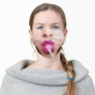 funny woman happy smile eating lollipop lips adult cloth face mask