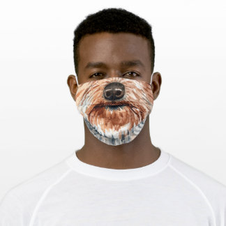 Funny Yorkshire terrier animal face watercolor art Adult Cloth Face Mask