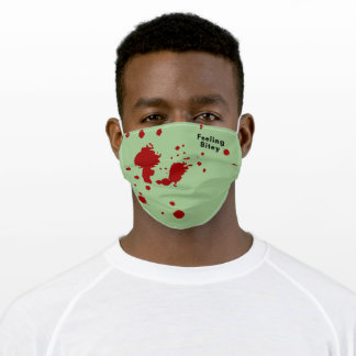 Funny Zombie Blood 'Feeling Bitey' Green Adult Cloth Face Mask