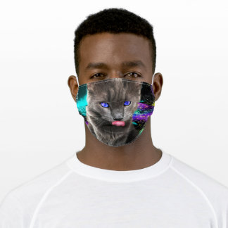 Galaxy space cat adult cloth face mask