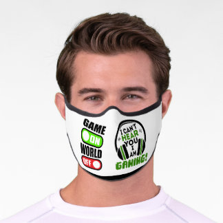 Game ON World OFF - I can't hear you Covid Premium Face Mask