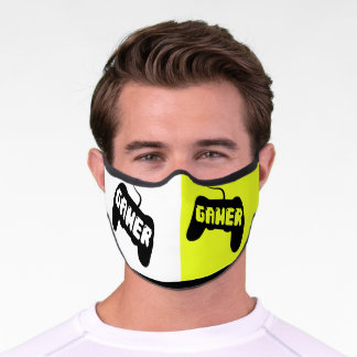 Gamer black console on white and neon yellow Covid Premium Face Mask