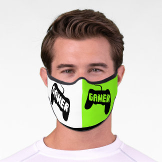Gamer controller on white and green halves Covid Premium Face Mask
