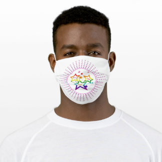 Gay LGBTQ Pride Month Stars Colorful Rainbow Adult Cloth Face Mask