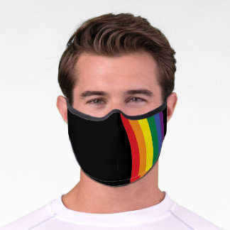 Gay Pride Rainbow Flag Strip Premium Face Mask