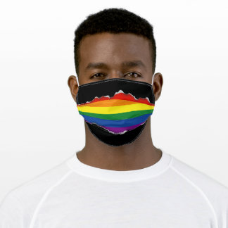 Gay Rainbow Flag | Faux Torn Out Look Adult Cloth Face Mask