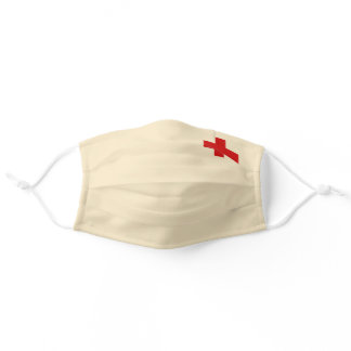 Generic Cream Color With Red Cross Adult Cloth Face Mask