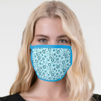 Geometric Boho Blue Bubbles Face Mask