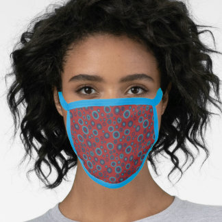 Geometric Boho Red Blue Bubbles Face Mask