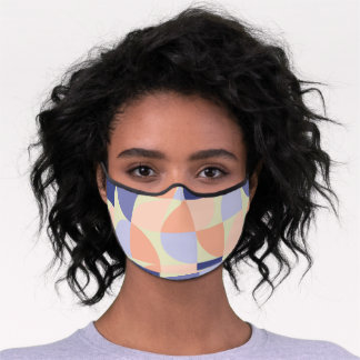 Geometric Graphic Design Shapes | Purple and Coral Premium Face Mask