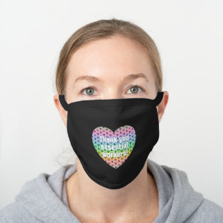 Geometric pastel heart Thank you essential workers Black Cotton Face Mask