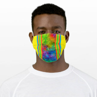 [Geometric Tie-Dye] Orange Yellow Green Stripes Adult Cloth Face Mask
