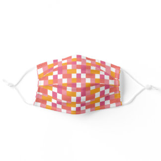 Geometric Tile Pattern in Coral, Pink and Yellow Adult Cloth Face Mask