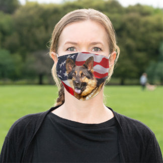 German shepherd Dog Patriot Red Blue White Adult Cloth Face Mask