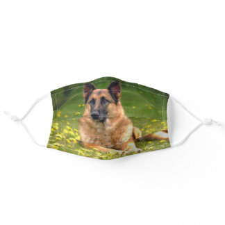German Shepherd Laying in Field of Flowers Adult Cloth Face Mask