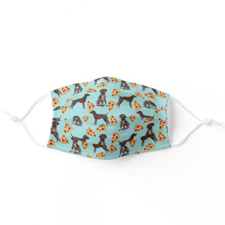 german shorthaired pointer dog pizza light blue adult cloth face mask