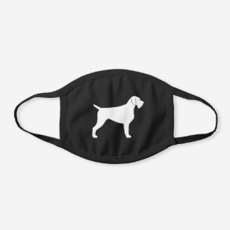 German Wirehaired Pointer Dog Breed Silhouette Black Cotton Face Mask