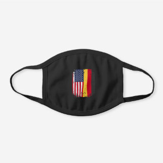 Germany USA Flag Black Cotton Face Mask